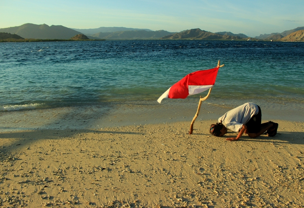 Foto diri di Pulau Kenawa, Sumbara Barat