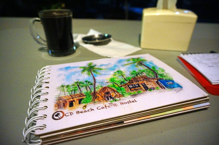 Buku menu bersampul sketsa berwarna karya Tayuko Matsumura, pejalan asal Jepang yang jatuh cinta dengan Kupang